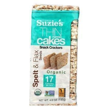 Suzie's Whole Grain Thin Cakes - Spelt and Flax Seeds - Case of 12 - 4.6 oz.