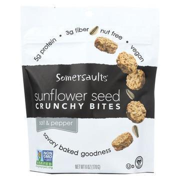 Somersaults Crunchy Sunflower Seed Bites - Salt and Pepper - Case of 6 - 6 oz.