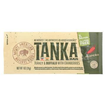 Tanka Bar Turkey and Buffalo Meat Bar - Jalapeno with Cranberries - Case of 12 - 1 oz.