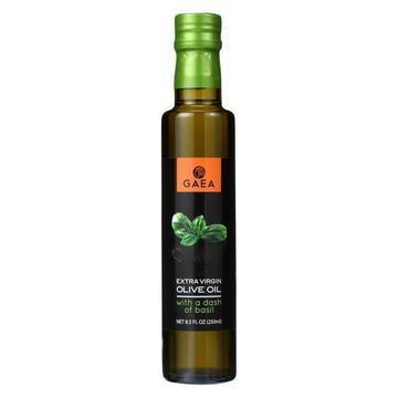 Gaea Extra Virgin Olive Oil - With A Dash of Basil - Case of 8 - 8.5 oz.