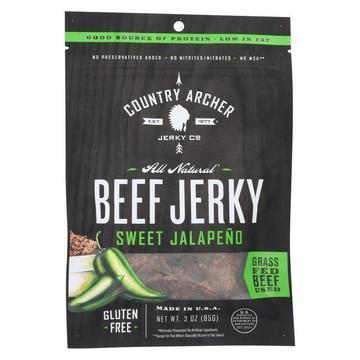 Country Archer Beef Jerky - Sweet Jalapeno - Case of 12 - 3 oz