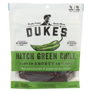 Dukes Smoked Shorty Sausages - Hatch Green Chile Pork Sausages - Case of 8 - 5 oz.