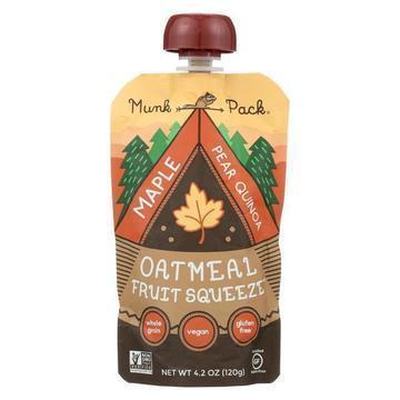 Munk Pack Oatmeal Fruit Squeeze - Maple Pear Quinoa - Case of 6 - 4.2 oz