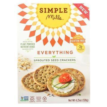 Simple Mills Sprouted Seed Crackers - Everything - Case of 6 - 4.25 oz