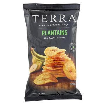 Terra Chips Veggie Chips - Plantains with Sea Salt - Case of 12 - 5 oz