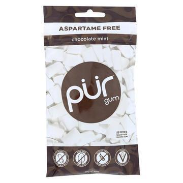 Pur Gum Sugar Free Gum - Chocolate Mint - Case of 12 - 77 GM