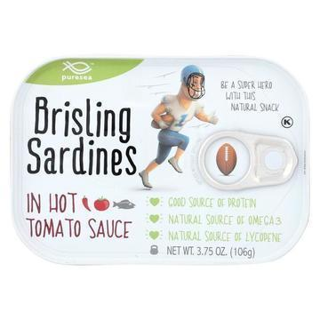 Pure Sea Sardines - Brisling - Hot Tom - Case of 12 - 3.75 oz