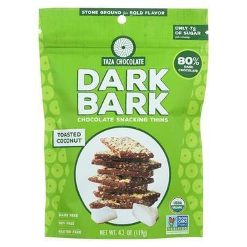 Taza Chocolate Organic Dark Bark Chocolate - Toasted Coconut - Case of 12 - 4.2 oz
