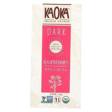 Kaoka Chocolate Bar - Raspberries 55% Cocoa  - Case of 12 - 3.5 oz.