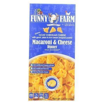 Funny Farm Macaroni & Cheese Dinner - Goat Cheddar Cheese - Shaped Pasta - Case of 12 - 5.5 oz