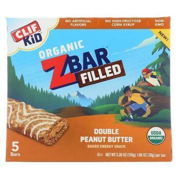 Clif Kid Zbar Filled - Double Peanut Butter - Case of 8 - 5/1.06oz