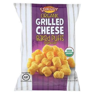 Snikiddy Snacks Organic Baked Puffs - Grilled Cheese - Case of 12 - 4 oz