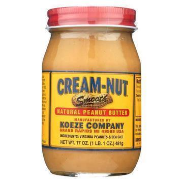 Cream Nut Peanut Butter - Smooth - Natural - Case of 6 - 17 oz