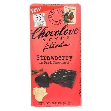 Chocolove Xoxox - Bar - Strawberry Creme - Dark Chocolate - Case of 10 - 3.2 oz