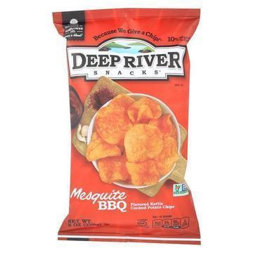 Deep River Snacks Kettle Chips - Mesquite Bbq - Case of 12 - 8 oz.