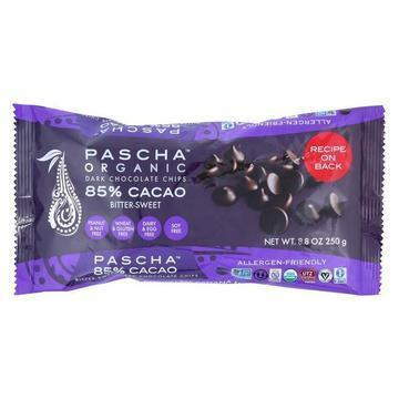 Pascha Organic Chocolate Chips -Bitter-Sweet Dark 85% - Case of 6 - 8.8 oz