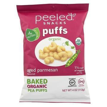 Peeled Organic Baked Pea Puffs - Aged Parmesan - Case of 12 - 4 oz