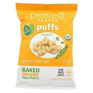 Peeled Organic Baked Pea Puffs - Butter & Sea Salt - Case of 12 - 4 oz