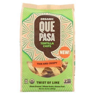 Que Pasa Tort Chip - Organic - Thin - Lime - Case of 12 - 12.3 oz