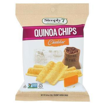 Simply7 Quinoa Chips - Cheddar - Case of 24 - 0.8 oz.