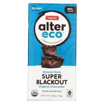 Alter Eco Americas Organic Chocolate Bar - Dark Super Blackout - Case of 12 - 2.65 oz