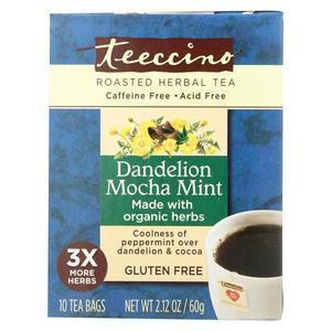 Teeccino Chicory Herbal Tea - Dandelion Mocha Mint - Case of 6 - 10 BAG