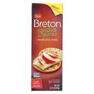 Breton/Dare Sprouted Grain Crackers - Caramelized Onion - Case of 6 - 5.11 oz.