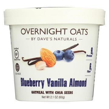 Dave's Gourmet Overnight Oats - Blueberry Vanilla Almond - Case of 8 - 2.1 oz.