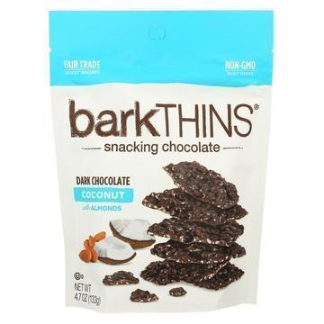 Bark Thins Snacking Chocolate - Dark Chocolate Toasted Coconut with Almonds - Case of 12 - 4.7 oz.
