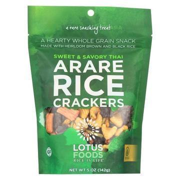 Lotus Foods Arare Rice Crackers - Sweet and Savory Thai - Case of 8 - 5 oz.