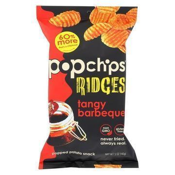 Popchips Potato Chip - Ridges - Tangy BBQ - Case of 12 - 5 oz