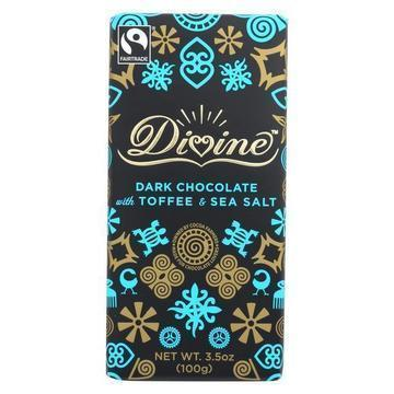 Divine Bar - Dark Chocolate With Toffee and Sea Salt - Case of 10 - 3.5 oz.