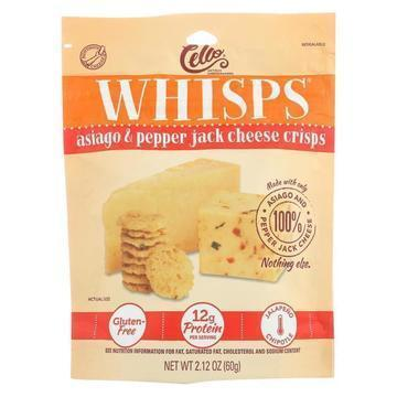 Cello - Whisps - Asiago and Pepper Jack Cheese Crisps - Case of 12 - 2.12 oz.