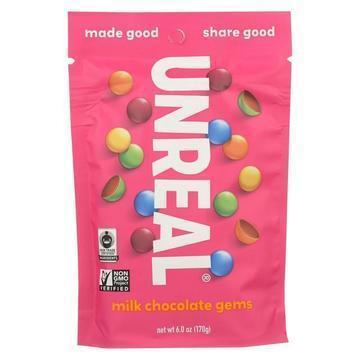 Unreal - Chocolate Gems - Milk Chocolate Gems - Case of 6 - 5 oz.