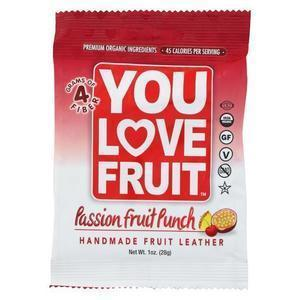 You Love Fruit - Organic Fruit Leather - Passion Fruit Punch - Case of 12 - 1 oz.