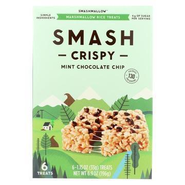 Smashmallow Marshmallow Rice Treats - Smashcrispy Mint Chocolate Chip - Case of 8 - 6/1.15 oz