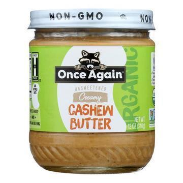 Once Again Organic Creamy Cashew Butter  - Case of 6 - 12 OZ